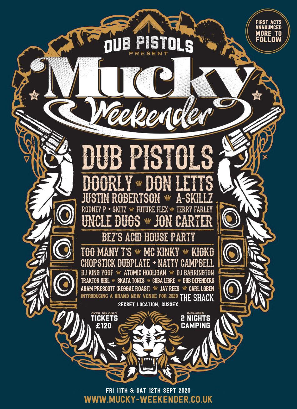 Mucky Weekender 2020 Line up flyer